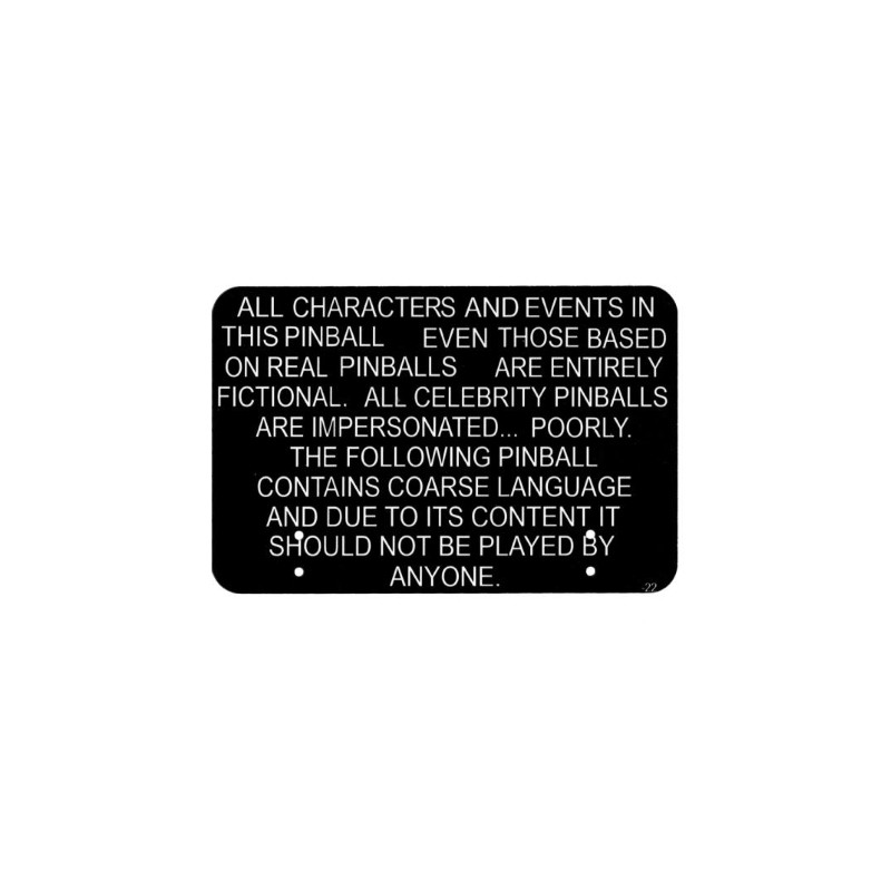#830-5967-22 SOUTH PARK (Sega) Disclaimer Sign Topper. Ripro